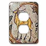 3dRose Danita Delimont - Artwork - Deer mosaic, New House Of Hunt, Bulla Regia, Tunisia, North Africa - Light Switch Covers - 2 plug outlet cover (lsp_276621_6)