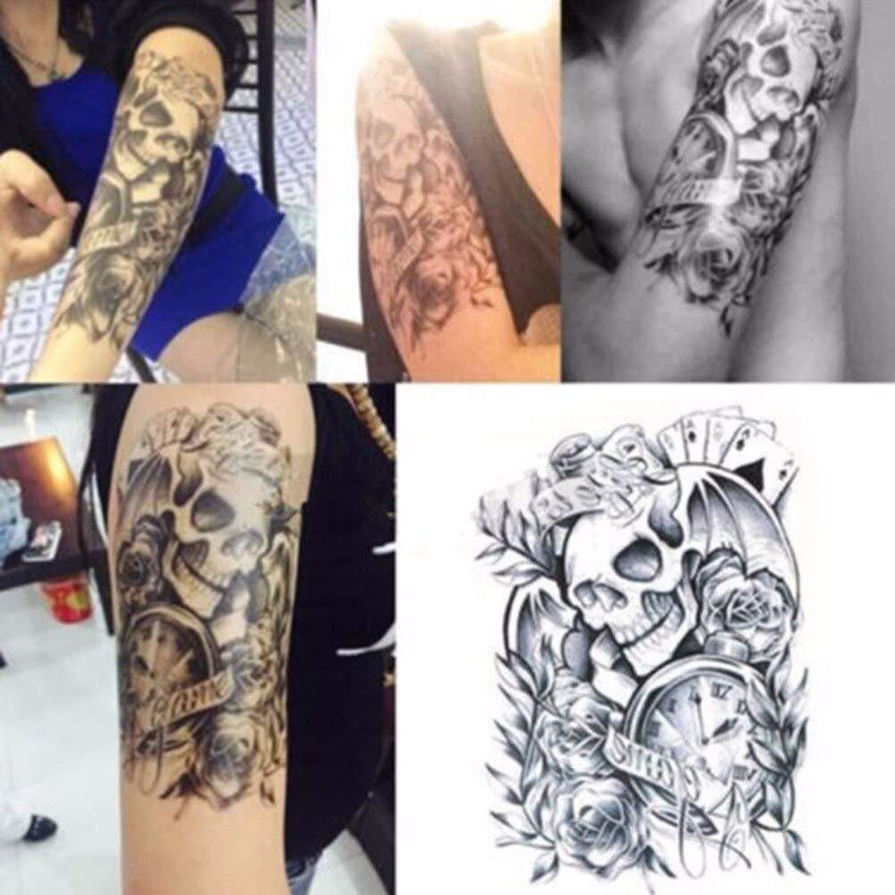 HDNSA Moda negro grande sexy tatuaje temporal cráneo reloj cuerpo ...
