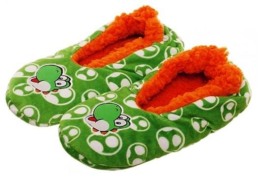 Yoshi Character Super Mario Bros. Plush Cozy Slippers Adult Size Large/XLarge