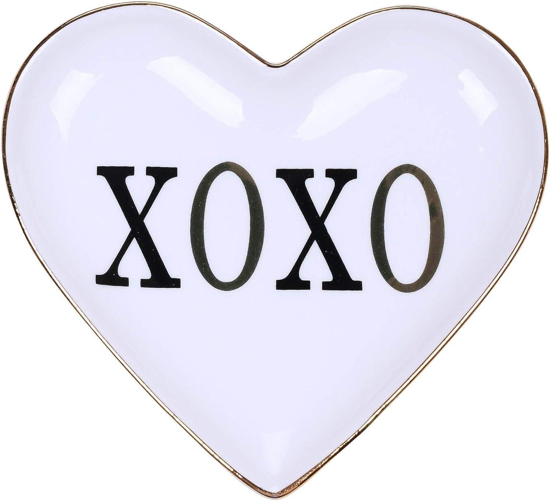 TK TENKKE Jewelry Ring Dish - Ceramic Trinket Dish Trinket Tray Heart Shape Decorative Ring Dish Earring Ceramic Tray for Jewelry Engagament Friends Sister Birthday Gift