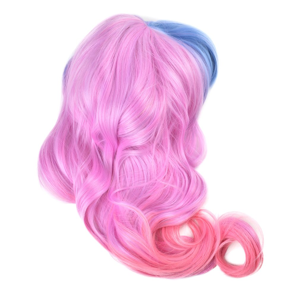 Hair Wigs for Women, Image Gradient Color Hair Extensions, Long Full Curly Wavy Glamour BLUE + PINK Wig with Wig Cap, Wig Comb and Rubber Band