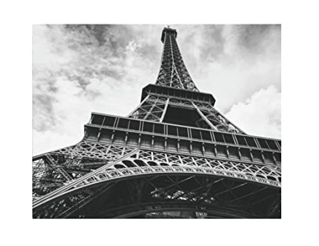 Paris eiffel tower poster print art 11 x 14 inches black white grey color
