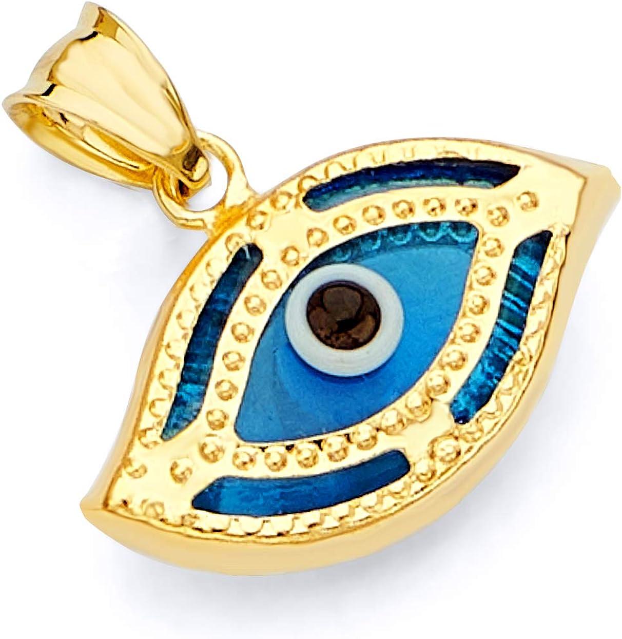 Heart Necklace Dark Blue Enamel Evil Eye Pendant 17x19mm 24k Shiny Gold Plated Heart Shaped Evil Eye Charms GLD015