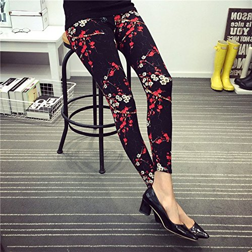 New Fashion Casual Cotton BRUSHED Black Milk Leggings Pants Female Elastic Plaid Graffiti Leggings Trousers Women Christmas - Summer Glasses India