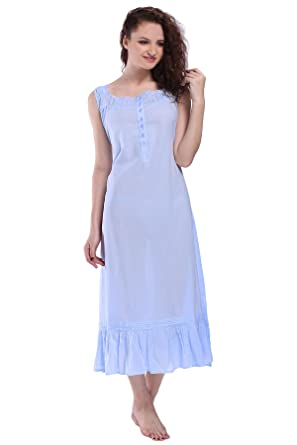 7e6ee945b9 Miss Lavish London Victorian Style Nightgown Sleeveless Long Sleepwear  Women Cotton Plus Size Vintage Nightdress  Amazon.co.uk  Clothing