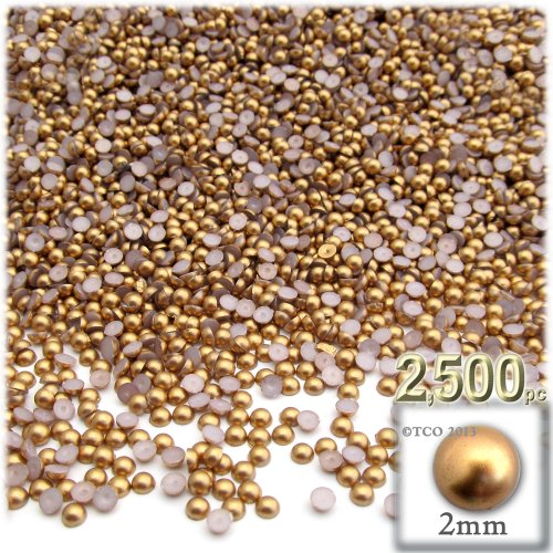 The Crafts Outlet 2500-Piece Pearl Finish Half Dome Round Beads, 2mm, Golden Caramel (2mm Half Round Dome)