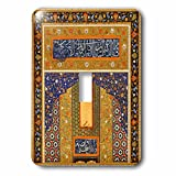 3dRose lsp_162525_1 Arabian Floral Abstract Dark Navy Blue and Matte Gold Flowery Pattern Islamic Islam Arabic Muslim Single Toggle Switch