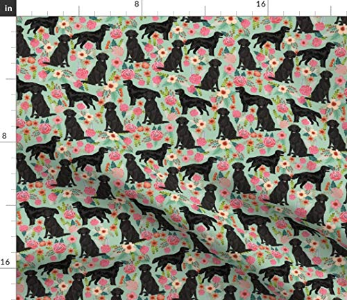 Spoonflower Black Dog Fabric - Dog Black Lab Dog Dogs Retriever Dog Breed Dog Pet Florals Pet Portrait Gift by Petfriendly Printed on Petal Signature Cotton Fabric by The Yard