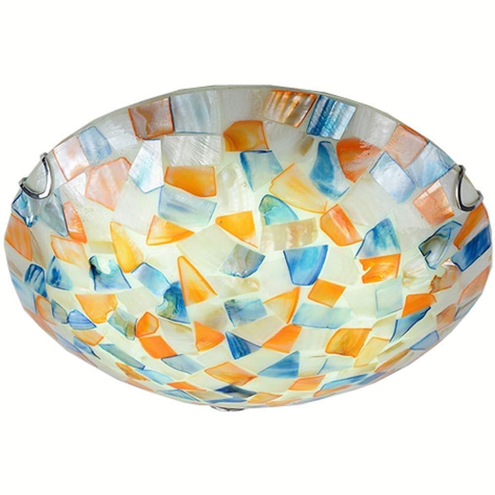NANGE Mediterranean Mosaic Shell Ceiling Lamp,Fashion Kid's Room Bedroom Ceiling Light,Balcony Hallway Chandelier (Orange)