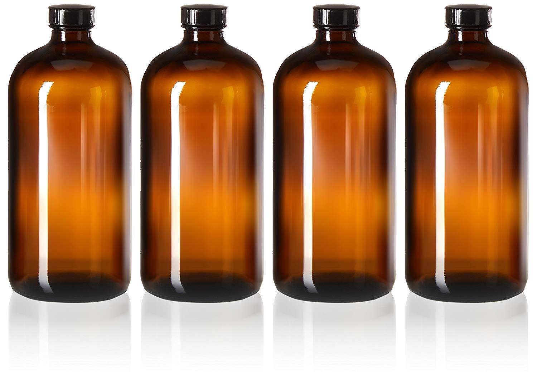 32oz Amber Glass Boston Round Growlers w/Polycone Lids (4-pack)