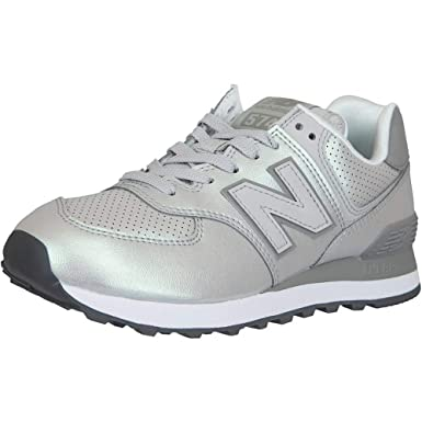 New Balance Damen Sneaker 574 Synthetik/Leder Silber: Amazon.de ...