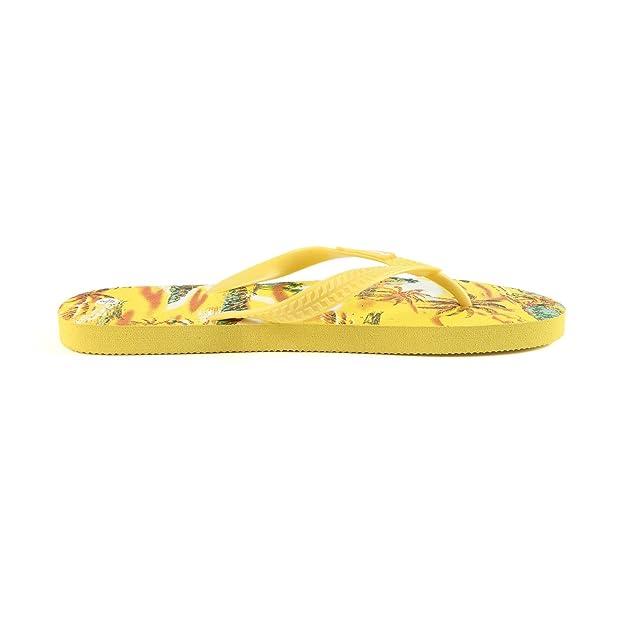 Hawaiianer-Druck-Sonnenuntergang-Strand-Palme-Hibiskus-Wellen-Frauen Flip Flops Sandalen im gelben Sonnenuntergang Größe 8 N2fJY