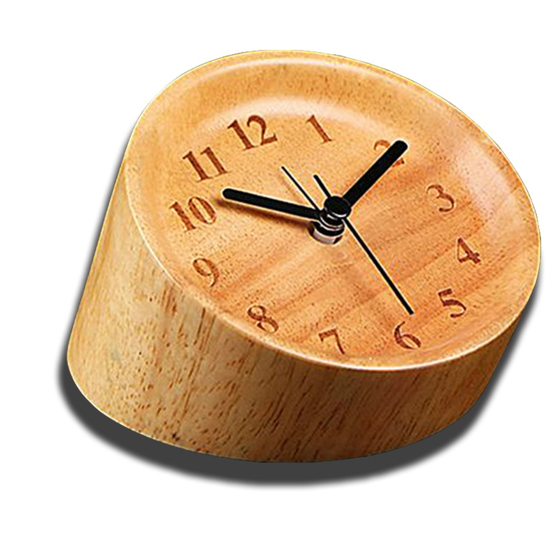 """Gradient Cylindrical Wooden Desk Clock,Saytay Digital Bedside Silent 4"""" Alarm Clock Unique Multi-angle Observation Hand-made Table Clock Eco-friendly and Exquisite, Great Bedroom Office Decor (WOOD)"""