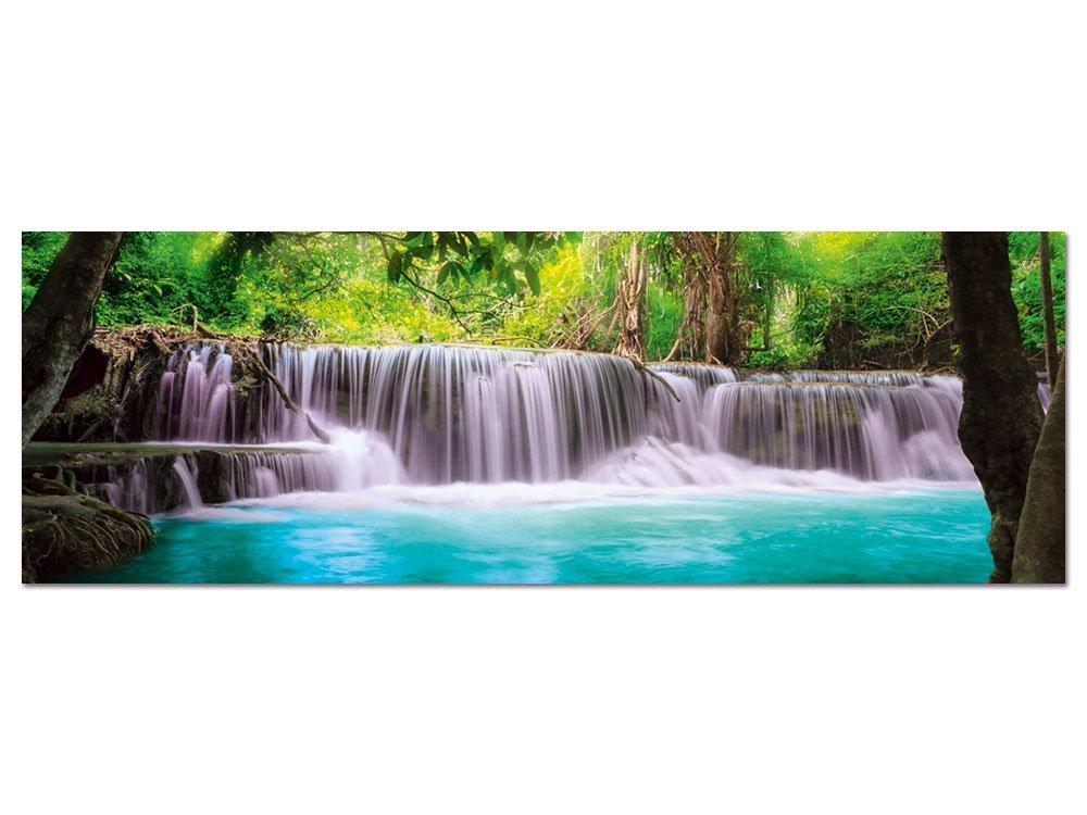 GRAZDesign 100479_003_01_04 Glasbild aus Acryl | Wandbild mit Wasserfall in der Wildnis | Hochwertiges Panoramabild als Wand-Deko für Wohnzimmer | Kunstdruck (150x50cm)