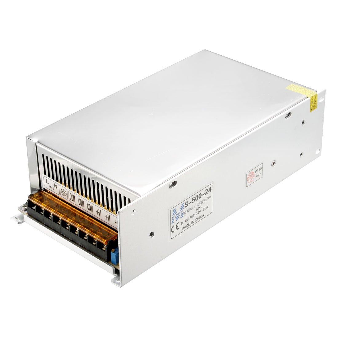 uxcell Switch Power Supply Driver S-480-24,AC 110V/220V to DC 24V 20A 480W for LED Strip Light