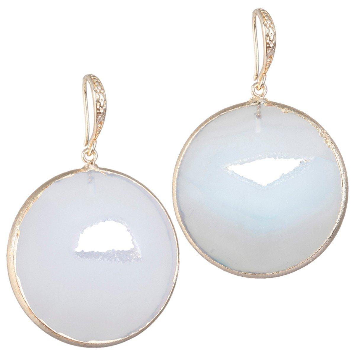 SUNYIK Round Natural Agate Geode Druzy Dangle Earrings for Women