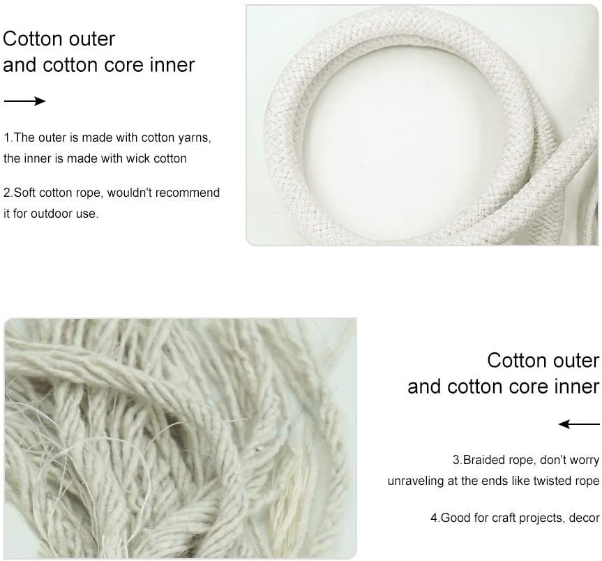 3//8 inch x 100 ft Aoneky Braided Cotton Rope