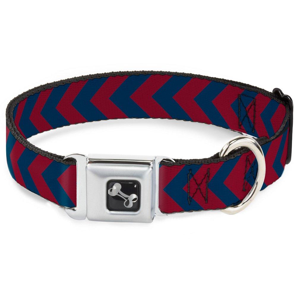 Buckle-Down 9-15  Chevron2 Red Navy Dog Collar Bone, Small