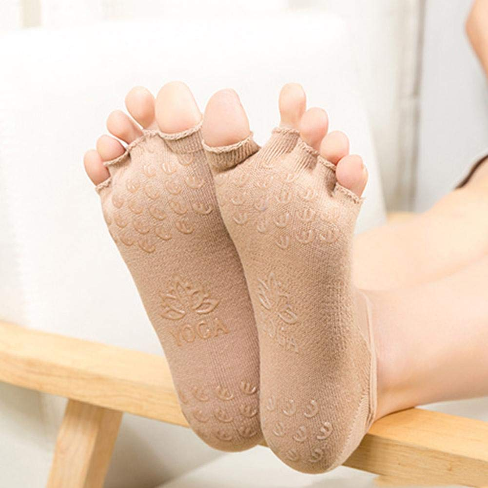 Chaussettes De Yoga avec Anti-d/érapant Silicone pour Femmes Pilates Gymnastique Chaussettes en Coton Prot/ège-Pieds /À Bout Ouvert Socquettes
