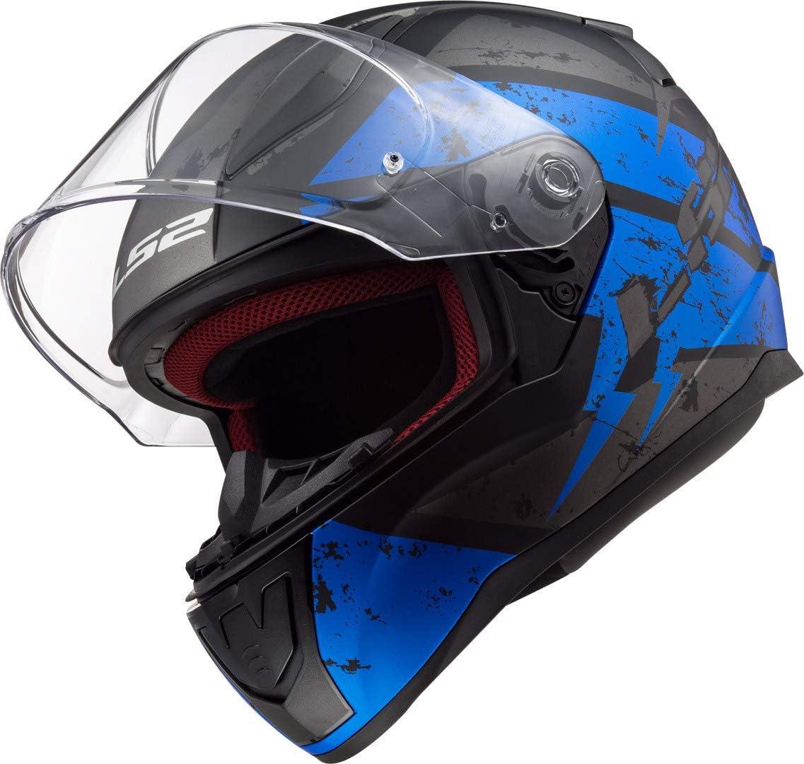 LS2 Motorradhelm FF353 RAPID DEADBOLT MATT Schwarz Blau XL Schwarz//Blau
