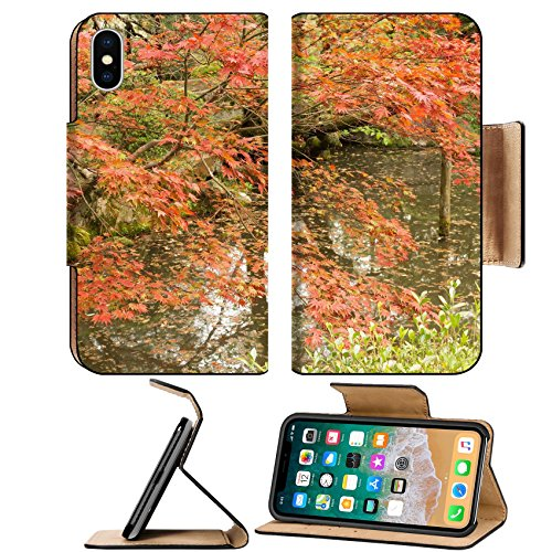 Luxlady Premium Apple iPhone X Flip Pu Leather Wallet Case IMAGE ID 31354708 Red maples planted on the shore and reflection in a Japanese garden near Heian - Shrine Heian Garden