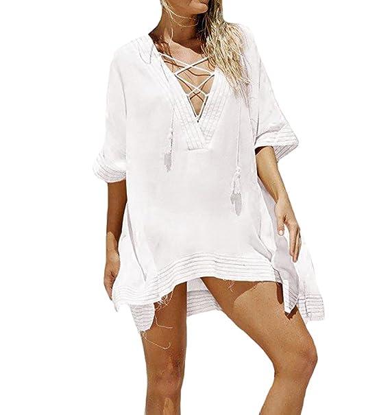 Bestyou Women s Lace Chiffon Swimwear Swimsuit Bathing Suit Cover up Tunic  Tops Beachwear (White D 3ee27de049