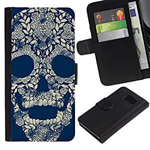 iBinBang / Flip Funda de Cuero Case Cover - Floral Vintage Retro Skull Blue Rose - Samsung Galaxy S6 SM-G920