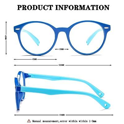 for Children Age 3-10 Kids Blue Light Blocking Glasses Silicone Flexible Square Eyeglasses Frame with Glasses Rope Black//Blue