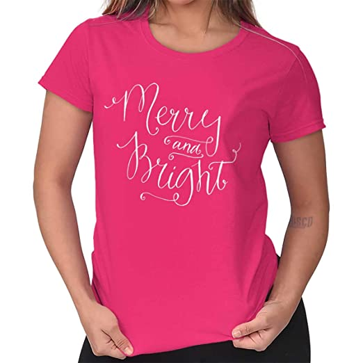 86cef2b45 Image Unavailable. Image not available for. Color: Merry Bright Christmas  Holiday Joy Santa Ladies T Shirt