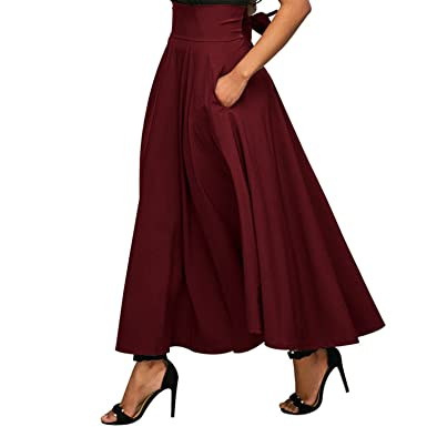 1249181fe917 Image Unavailable. Image not available for. Color: Doris Batchelor Elegant  Autumn Winter Women Gray Retro High Waist Pleated Belted Maxi Skirt ...