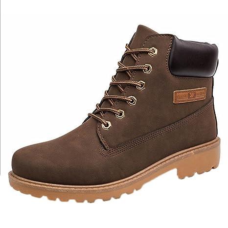 XINANTIME - Botines para hombres Forrado invierno otoño cálido Martin Boots Zapatos (39, Marrón