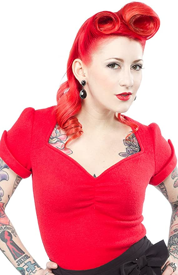 Rosie the Riveter Costume & Outfit Ideas Sourpuss Sugar Sweater Red $36.99 AT vintagedancer.com