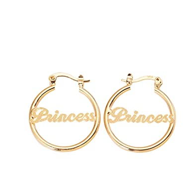 550da2403 Amazon.com: 24K Gold Plated Circle Hoop Earrings Alphabet  Nameplate
