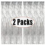 Fecedy 2pcs 3ft x 8ft Silver Metallic Tinsel Foil Fringe Curtains Photo Booth Props For Birthday Wedding Engagement Bridal Shower Baby Shower Bachelorette Holiday Celebration party Decorations (silver)
