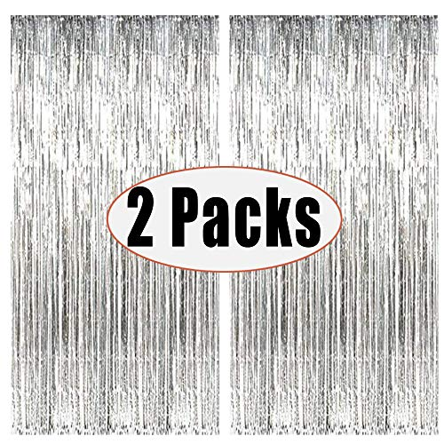 FECEDY 2pcs 3ft x 8ft Silver Metallic Tinsel Foil Fringe Curtains Photo Booth Props for Birthday Wedding Engagement Bridal Shower Baby Shower Bachelorette Holiday Celebration Party Decorations (Hanging Curtains New)