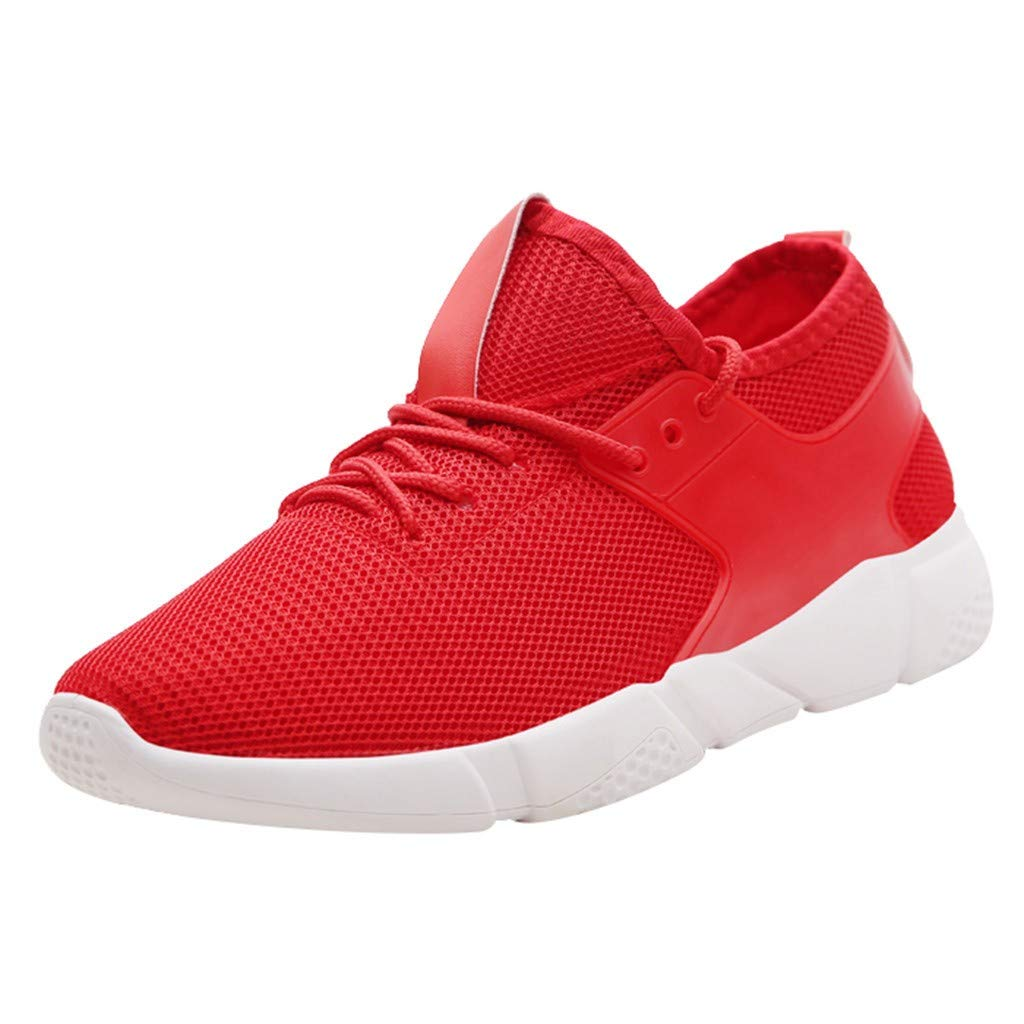 refulgence Men's Sneakers Breathable Lightweight Sport Shoes Round Toe Running Shoe (Red,US:6) by refulgence