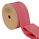 LaRibbons Twill Chevron Stripes Ribbon/Gift Wrap Ribbon, 1-1/2 Inch by 10 Yard/Spool, Red