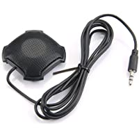 Sanzhileg Captador omnidireccional con micrófono de 3,5 mm con Conector de Audio y Condensador para Skype VOIP Call Voice Chat - Negro