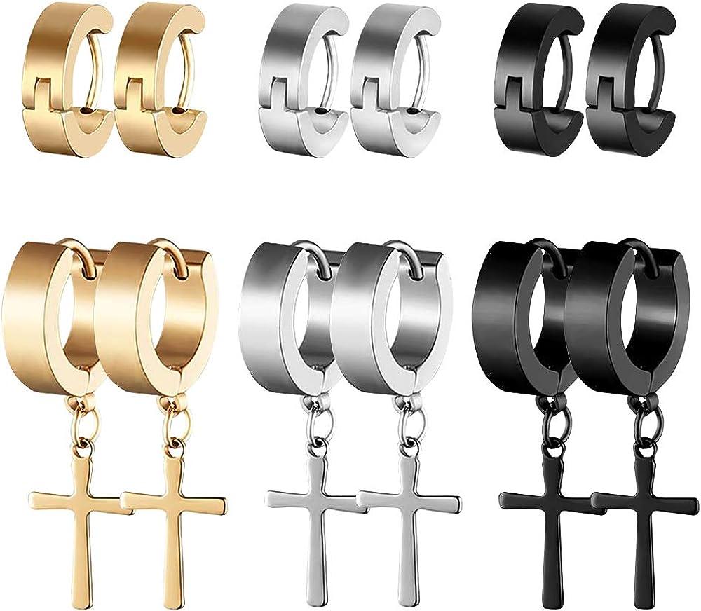 Stainless Steel Cross Hoop Stud Earrings for Men and Women Cross Earrings Dangle Hinged Earrings 6 Pairs
