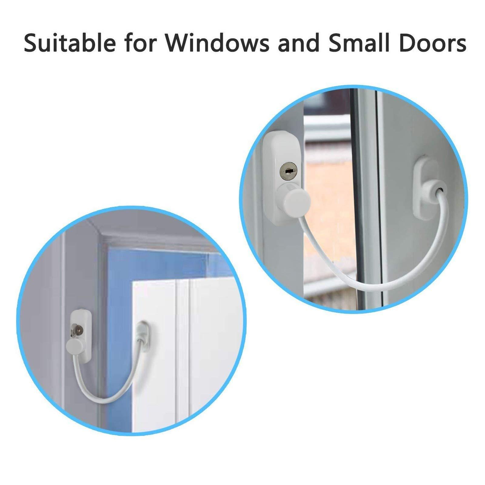 Kamtop Window Restrictor Locks 8 Packs Security Cable for Child Baby Safety Window Locks Door Locks with Screws Keys by Kamtop (Image #5)