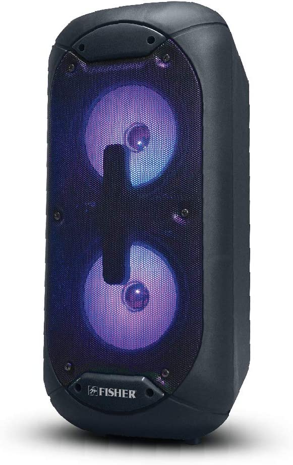 Fisher FBX520 5-inch Portable Bluetooth Speaker with Strap and Remote Control Blue Colorful Lights