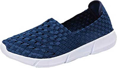 Liveinu Women Hand Woven Sandals Summer Breathable Comfort Flat Loafer Slip-Ons Walking Shoes