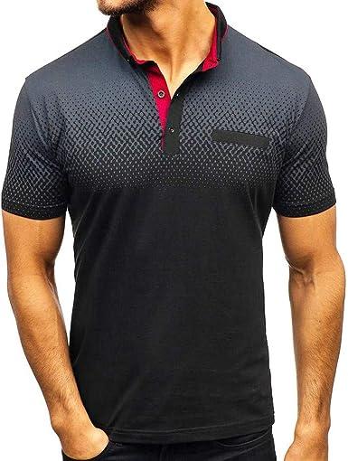 Camisa para Hombre Manga Corta con Estampado Degradado Casual Deportiva Gimnasio Camiseta Cuello Redondo Básica Blusa Moda Slim Fit Top riou: Amazon.es: Ropa y accesorios