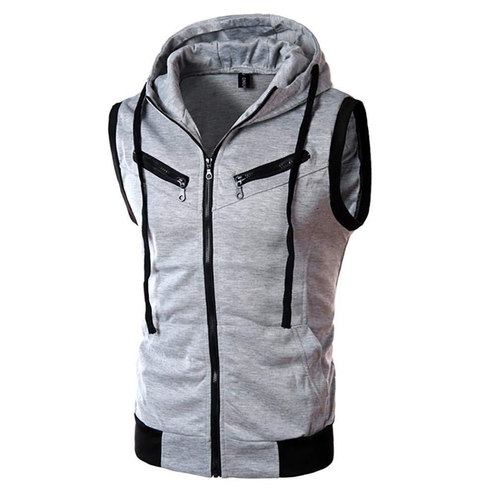 Easytoy Mens Slim Fit Sleeveless Sweatshirt Lightweight Zip-up Hooded Vest with Zipper Trim Hoodies Top (Gray, M)
