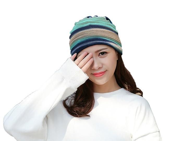 303f9042012 Women s Soft Rainbow Striped Slouchy Beanie Skull Hat (Blue light blue)