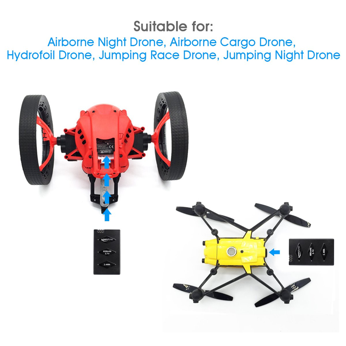 Parrot Minidrone Battery, Keenstone 3PCS 3.7V 650mAh Li-po Battery w/3-Port Charger for Jumping Sumo Swing Mambo Rolling Spider Air Night Airborne Cargo Jumping Race Night Hydrofoil Drone