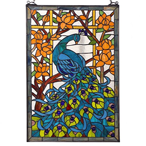 Peacock Tiffany Style Window Panel with Hanging Chain ()