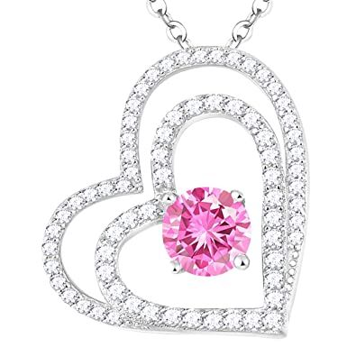 802384e29 Necklace Sterling Silver Jewelry Gifts for Mom Pink Tourmaline Double Love  Heart Pendants Swarovski Necklace Anniversary