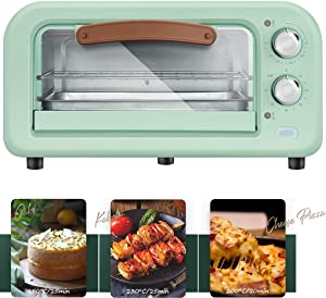 Multi-Function Vintage Countertop Toaster Oven, Retro Convection Oven with Rack, Baking Pan, Smart 800W Microwave Oven, Adjustable Temperature Control, 60-Minute Timer,A