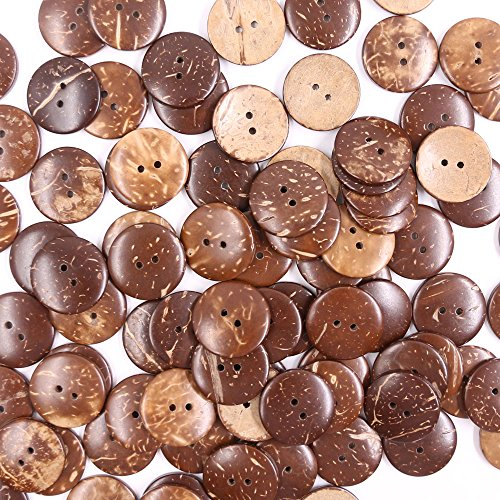 New Sewing Craft Buttons - Renashed 100pcs Brown New Thick Coconut Shell Buttons 2 Hole Craft/Sewing Buttons/hot Products 2.5cm